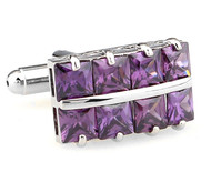 Square Cut Purple Crystal Cufflinks (V-CF-C64355PR-S)