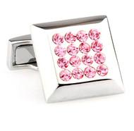 Pink Crystal Square Design Cufflinks (V-CF-67234P)