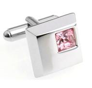 Pink Petite Square Crystal Cufflinks (V-CF-C5753P)