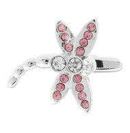Pink Swarovski® Crystal Dragonfly Cufflinks (V-CF-56659P)