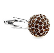 Brown Swarovski® Crystal Encrusted Small Ball Cufflinks (V-CF-C624BR)