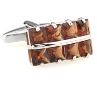 Square Cut Light Brown Crystal Cufflinks (V-CF-C64355CBR-S)