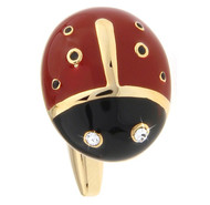 Enameled Ladybug with Swarovski® Crystals Gold Cufflinks (V-CF-E403G)