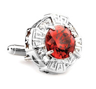 Oversized Red Faceted Crystal Cufflinks (V-CF-C64110R)