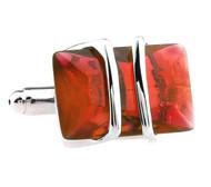 Red Crystal Cufflinks (V-CF-50938R-S)