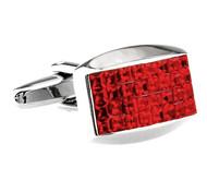 Red Princess Baguettes Swarovski® Crystal Cufflinks (V-CF-C60091R)