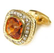 Large Amber-Colored Swarovski® Crystal Cufflinks (V-CF-80000G-G)