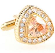 Trillion-Cut Peach Crystal Gold Cufflinks (V-CF-52205-G)