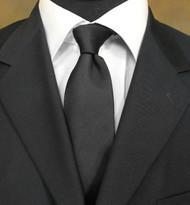 Antonio Ricci 100% Tonal Silk Tie - Black Design