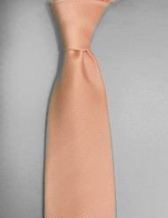 Antonio Ricci Solid Color Tonal Rib Weave Tie - Peach