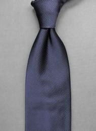 Antonio Ricci Solid Color Tonal Rib Weave Tie - Navy Blue