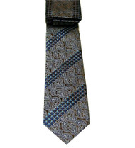 Antonio Ricci Necktie w/ Matching Pocket Square - Brown Paisleys with Blue
