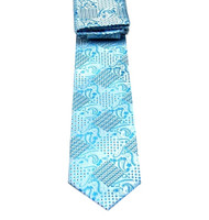 Antonio Ricci Necktie w/ Matching Pocket Square - Silver with Turquoise Design