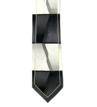Antonio Ricci 100% Printed Silk Tie - Charcoal Block Panel Design