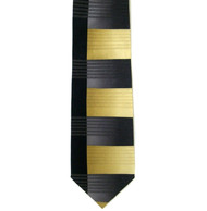 Antonio Ricci 100% Printed Silk Tie - Tan & Black Offset Line Design