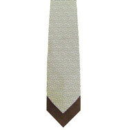 Antonio Ricci 100% Printed Silk Tie - Brown Micro Dots Border Design