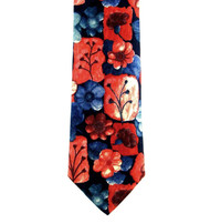 Antonio Ricci 100% Printed Silk Tie - Flowers and Stems Print