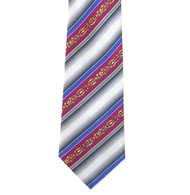 Antonio Ricci 100% Printed Silk Tie - Fuchsia Ornate Stripe on Grey