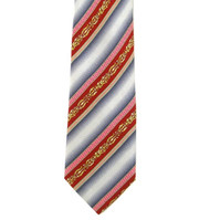 Antonio Ricci 100% Printed Silk Tie - Red Ornate Stripe on Grey