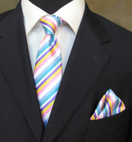 Antonio Ricci Necktie w/ Matching Pocket Square - Pastel Stripes on White