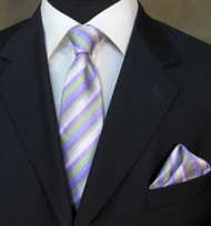 Antonio Ricci Necktie w/ Matching Pocket Square - Purple & Green Stripes