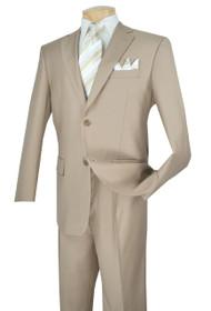 Lucci 2-Button with Flat Front Slacks Budget Suit - Beige