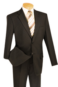 Lucci 2-Button with Flat Front Slacks Budget Suit - Brown