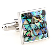 Abalone Shell Mosaic Square Cufflinks (V-CF-S60607)