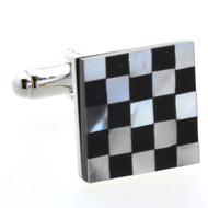 Black Onyx & Mother of Pearl Checkerboard Cufflinks (V-CF-G50113)