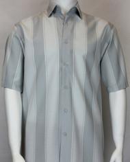 Bassiri Light Grey Large Stripe Short Sleeve Camp Shirt