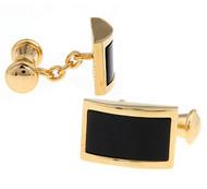 Gold Chain Design with Black Onyx Cufflinks (V-CF-G703-G)