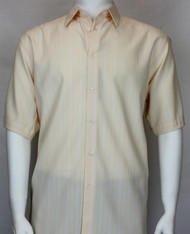Bassiri Cream Micro Stripe Short Sleeve Camp Shirt