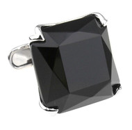 Large Faceted Cut Black Onyx in Silver Cufflinks (V-CF-G56844B-S)