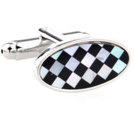 Oval Black Onyx & Mother of Pearl Checkerboard Cufflinks (V-CF-G52811)