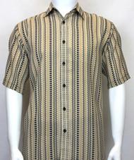 Bassiri Tan Spiral Design Short Sleeve Camp Shirt