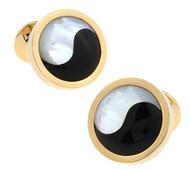 Yin-Yang Mother-of-Pearl & Onyx Gold Cufflinks (V-CF-G627G)