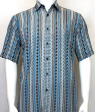 Bassiri Blue Spiral Design Short Sleeve Camp Shirt