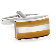 Tan Cat's Eye & Mother of Pearl Cufflinks (V-CF-G66498BRM)