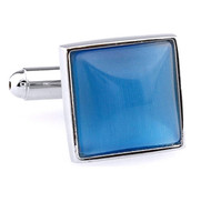 Blue Cat's Eye Stone Square Cufflinks (V-CF-G66604LBL)