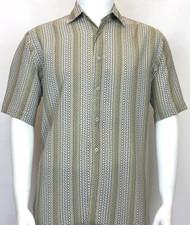 Bassiri Sage Green Zig-Zag Design Short Sleeve Camp Shirt