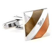 Caramel Colored Cat's Eye Cufflinks (V-CF-60694BR)