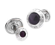 Double Purple Cat's Eye Stone Ornate Bar Cufflinks (V-CF-G61743PR-S)