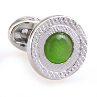 Green Cat's Eye Stone Cufflinks (V-CF-C53340-GR)