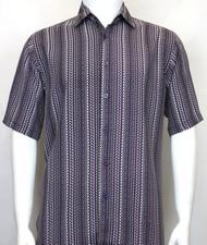 Bassiri Purple Zig-Zag Design Short Sleeve Camp Shirt