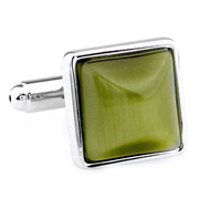 Olive Green Cat's Eye Stone Square Cufflinks (V-CF-G66604GR)