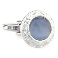 Round Light Blue Cat's Eye Stone Cufflinks (V-CF-G66622BL-S)