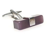 X-Long Purple Cat's Eye Bar Cufflinks (V-CF-56019PR-S)