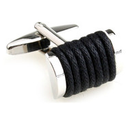 Black Silk Rope Cufflinks (V-CF-S6495B)