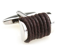 Brown Silk Rope Cufflinks (V-CF-S6495BR)