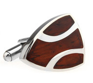 Carved Rosewood Triangular Stainless Steel Cufflinks (V-CF-W230080SS)